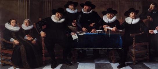 De regenten en regentessen van het Oude Mannen- en Vrouwengasthuis. Door Nicolaes Cornelisz. Moeyaert in 1640.