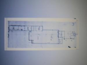 Plattegrond van de schouwburg en het erachter liggende perceel Prinsengracht 497. Door  Jacob van campen rond 1637