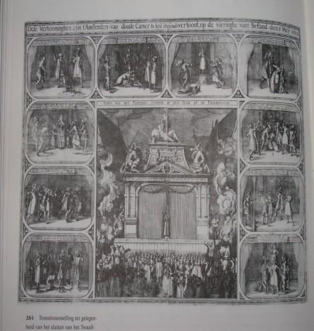 Dese Vertooninghen zijn t'Amsterdam (van d'oude Camer In liefd bloeijende) vertoont, op de vieringhe vant Bestand, den 5 Mey 1609. Gravure door Claes Jansz. Visscher.