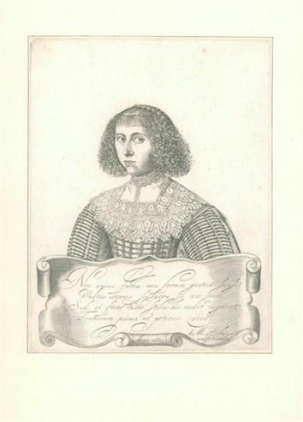 Zelfportret Anna Maria van Schurman gravure 1633